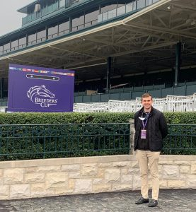 CEO Pierce Dargan of Equine MediRecord in the Winner's Circle at Keeneland during this year's Breeders' Cup.